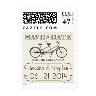 Vintage Bicycle Save the Date Postage