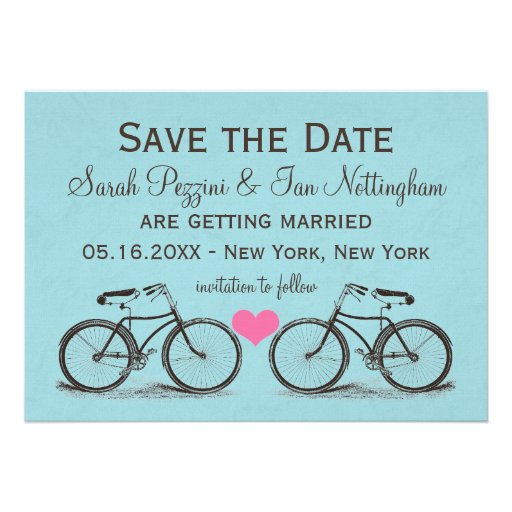 Vintage Bicycle Save The Date Wedding Cards 5 X 7 Invitation Card