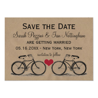 """Vintage Bicycle Save the Date Wedding Cards 5"""" X 7"""" Invitation Card"""