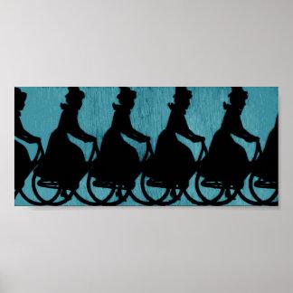 Vintage Bicycle Scarf Hat Woman Poster