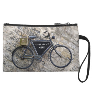 Vintage Bicycle Suede Wristlet