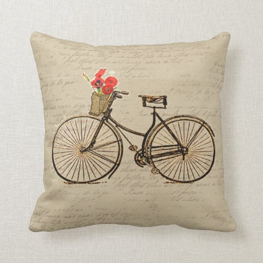 Vintage Bicycle Throw Pillows Zazzle