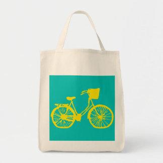 Vintage Bicycle Tote Yellow/Teal
