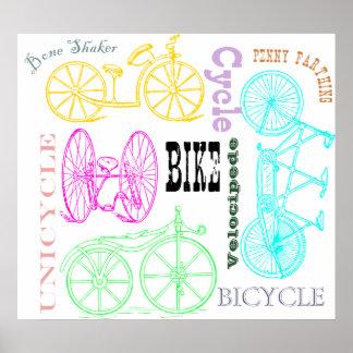 Vintage Bicycle Versions Poster