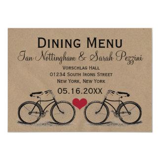 Vintage Bicycle Wedding Dining Menu Cards