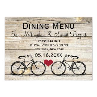 Vintage Bicycle Wedding Dining Menu Cards Announcement