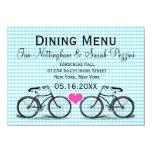 Vintage Bicycle Wedding Dining Menu Cards Invite
