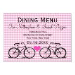 Vintage Bicycle Wedding Dining Menu Cards Invites