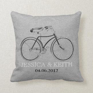 Vintage bicycle wedding names monogram faux burlap pillow