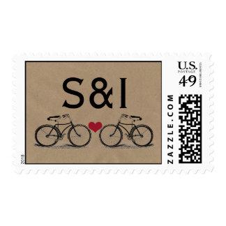 Vintage Bicycle Wedding Stamps