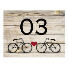 Vintage Bicycle Wedding Table Numbers Postcard at Zazzle