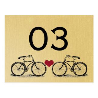 Vintage Bicycle Wedding Table Numbers Postcard