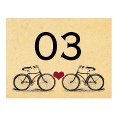 Vintage Bicycle Wedding Table Numbers Postcard at Zazzle