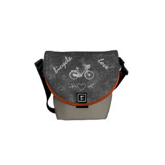 Vintage Bicycle with Basket Gray Pattern Messenger Bag
