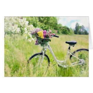 Vintage bicycle with basket of flowers blank card