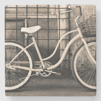Vintage Bicycle With Basket Stone Coaster