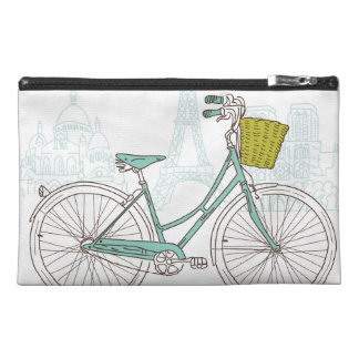 Vintage Bicycle with cute basket in Paris Travel Accessories Bag