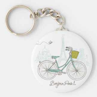 Vintage Bicycle with cute basket in Paris Basic Round Button Keychain