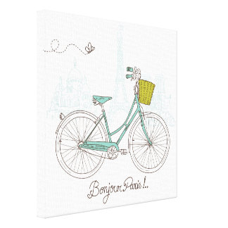 Vintage Bicycle with cute basket in Paris Canvas Print