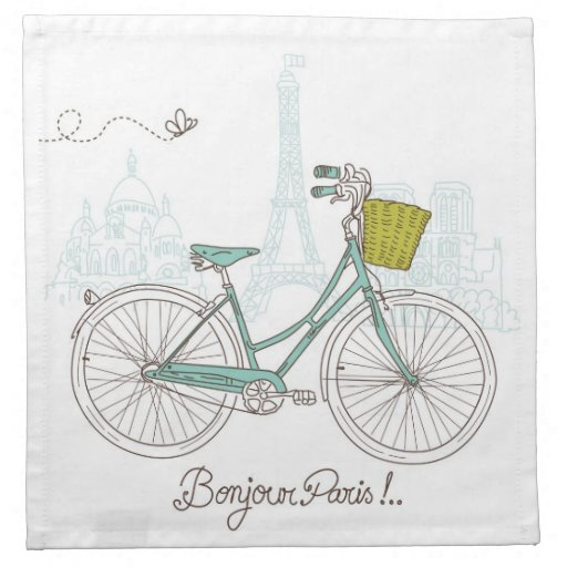 Vintage Bicycle with cute basket in Paris Printed Napkin