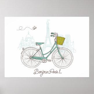 Vintage Bicycle with cute basket in Paris Poster
