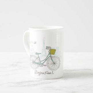 Vintage Bicycle with cute basket in Paris Bone China Mugs