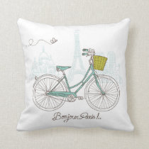 Vintage Bicycle with cute basket in Paris Throw Pillow