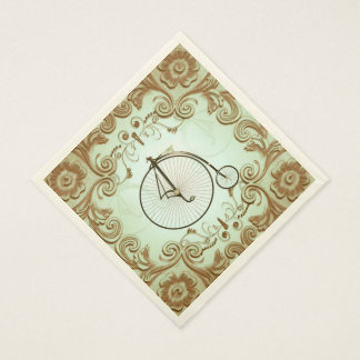 Vintage, bicycle with floral elements standard luncheon napkin