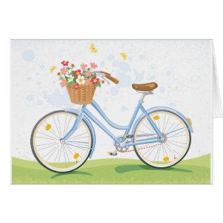 Vintage Bicycle with Flower Basket Card