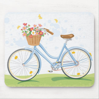 Vintage Bicycle with Flower Basket Mouse Pad
