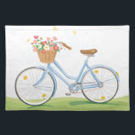 """Vintage Bicycle with Flower Basket Placemat<br><div class=""""desc"""">Hand drawn illustration of a blue Vintage bicycle with a basket full of flowers.</div>"""