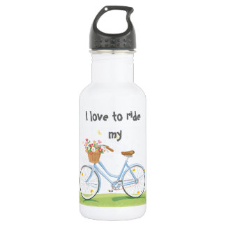 Vintage Bicycle with Flower Basket Water Bottle