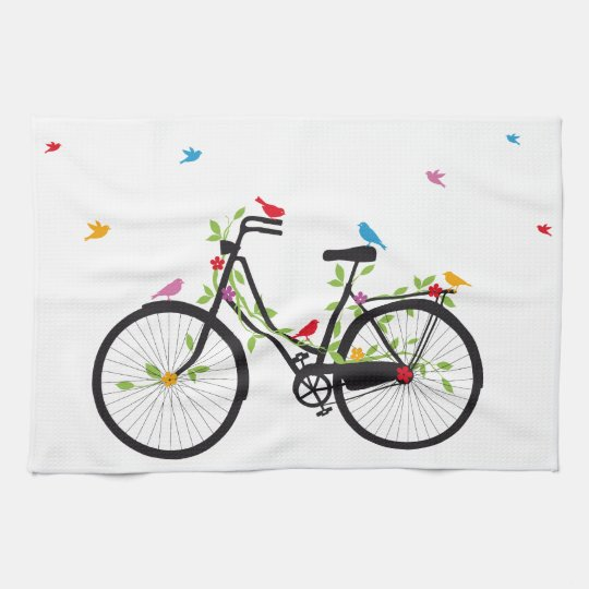 Vintage bicycle with flowers and birds kitchen towel