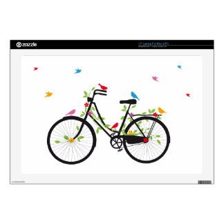 Vintage bicycle with flowers and birds laptop skins
