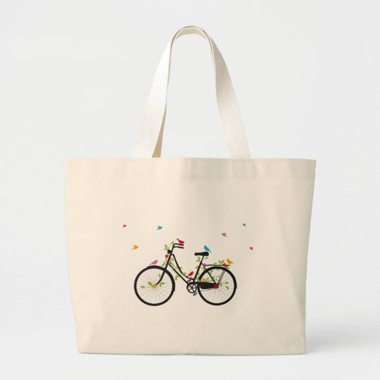 Vintage bicycle with flowers and birds large tote bag