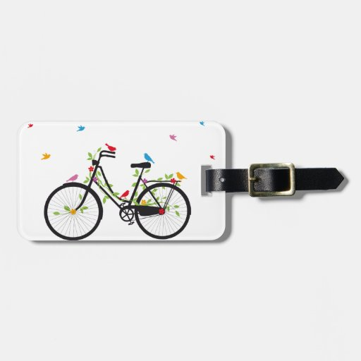 Vintage bicycle with flowers and birds tags for bags