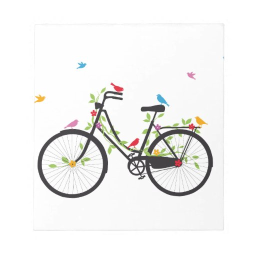 Vintage bicycle with flowers and birds memo notepads