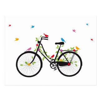 Vintage bicycle with flowers and birds post card