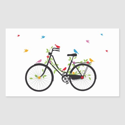 Vintage bicycle with flowers and birds rectangular stickers