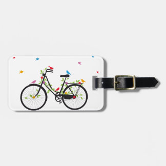 Vintage bicycle with flowers and birds tag for luggage