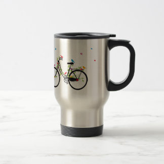 Vintage bicycle with flowers and birds travel mug