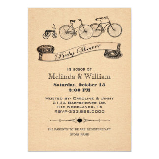 "Vintage Bicycles Baby Shower Invitation 5"" X 7"" Invitation Card"