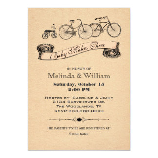 "Vintage Bicycles Baby Shower Invitation 2 5"" X 7"" Invitation Card"