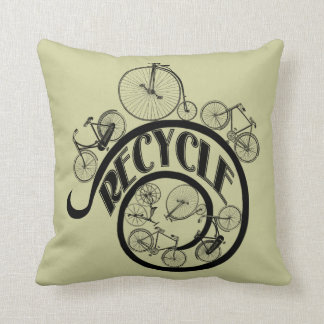 Vintage Bicycles Recycle Apparel and Gifts Throw Pillows