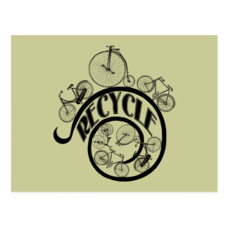 Vintage Bicycles Recycle Apparel and Gifts Postcard