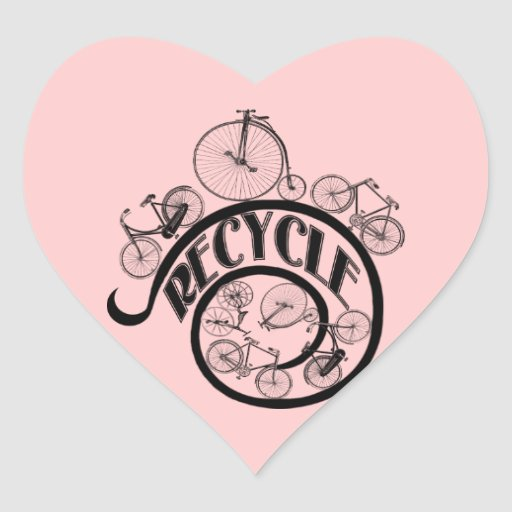 Vintage Bicycles Recycle Apparel and Gifts Heart Stickers