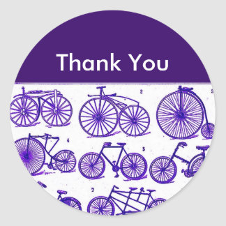 Vintage Bicycles Thank You Classic Round Sticker