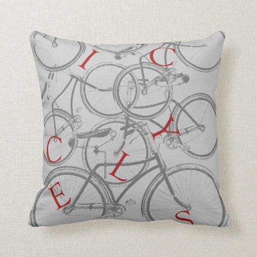 Throw Pillows With Bikes : Vintage Bicycles Throw Pillow Zazzle