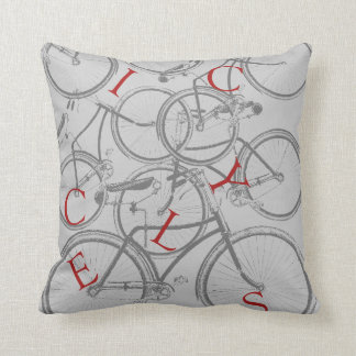 Vintage Bicycles Throw Pillow