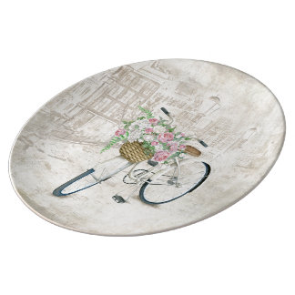 Vintage bicycles with roses basket porcelain plate